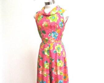 58c8f23fdc0 S M 60s Jumpsuit Maxi Pants Dress MOD Vintage Pop Art Floral Print Pink  Orange Blue Green Hostess Long Small Medium