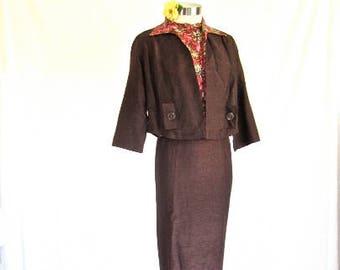 M L 50s Suit Dress 3 pc Wiggle Sheath Shell Top Pencil Skirt & Jacket Brown Floral Pinks Shirt Medium Large
