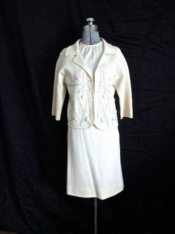 S M 60s 3pc Suit Dress Italian Wool Knit Sweater J