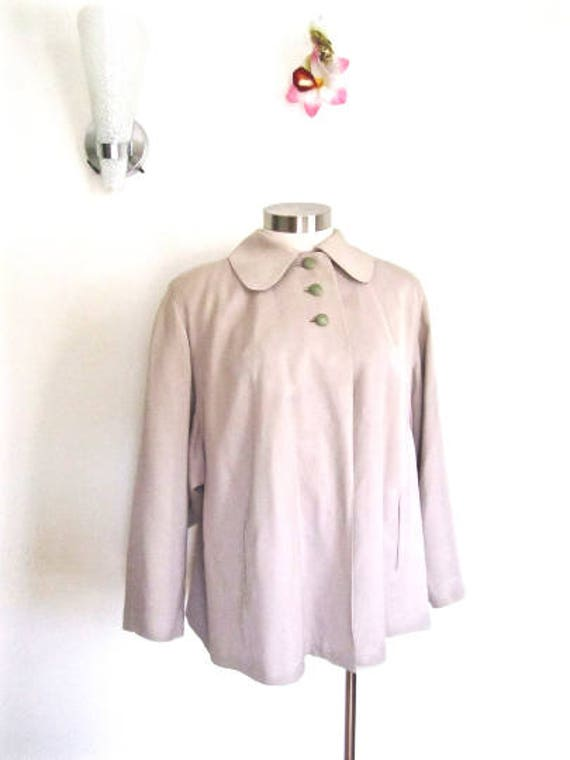 L 40s 50s Swing Coat Jacket Clutch Tan Taupe Butto