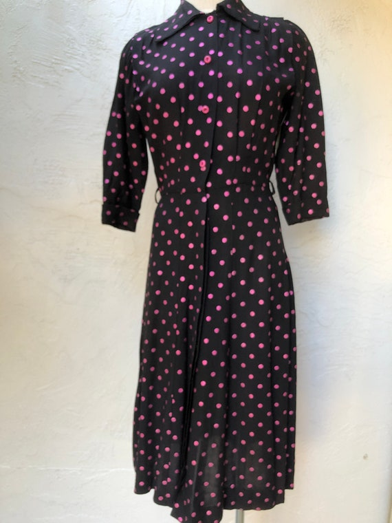 M 40s Black and Pink Polka Dot Dress
