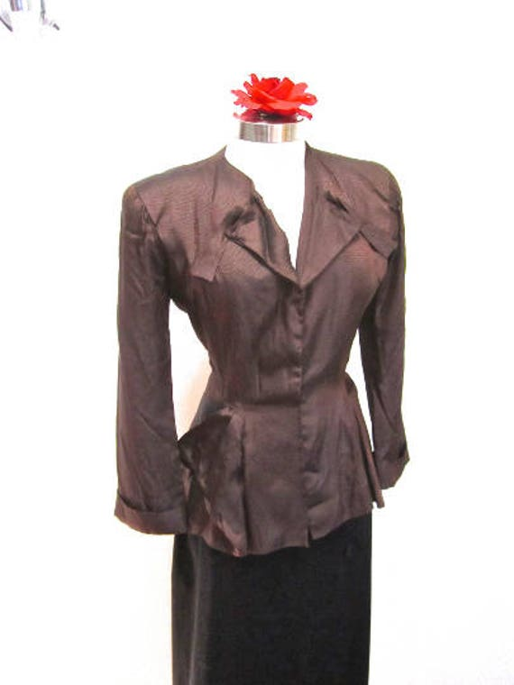 M 40s Jacket Evening Satin Iridescent Brown Bronze
