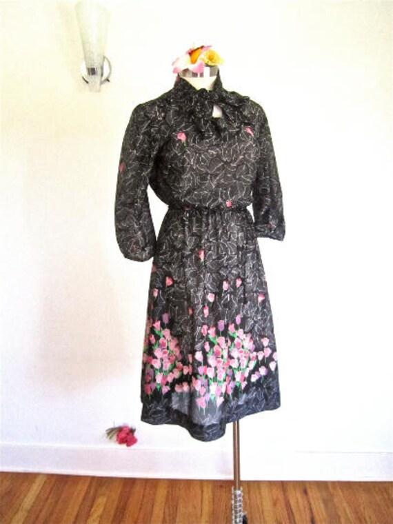 M 70s 80s Black Purple Secretary Day Dress Studio