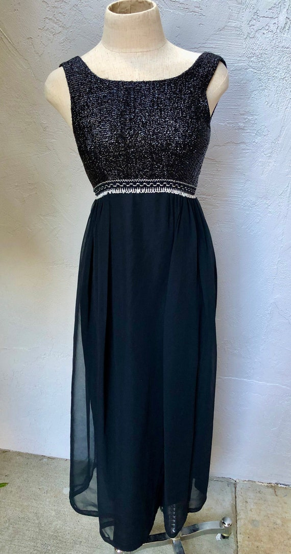 S 50s Black Sequined Evening Gown Small