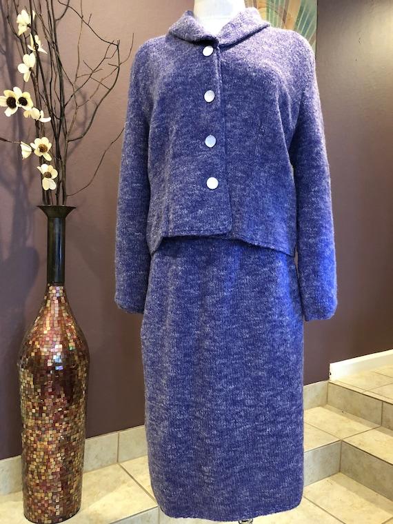 M 50s Hand Knit Purple Suit Skirt Set Lined