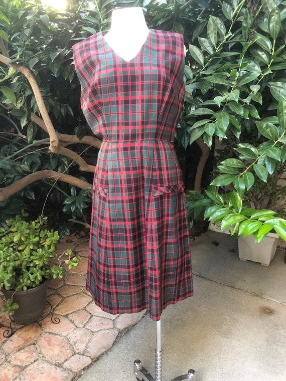 L 50s Vintage Plaid Dress