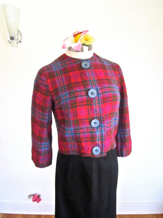 M L 50s 60s Wool Plaid Cropped Jacket Red Blue Gre