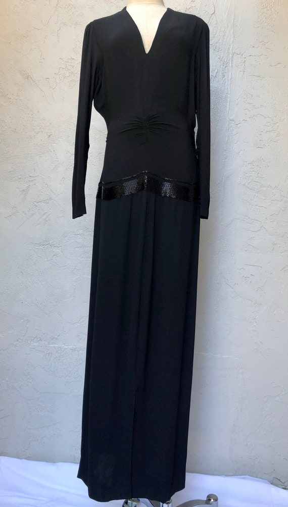Vintage 1940s 30s Rayon Dress in Black Crepe and B