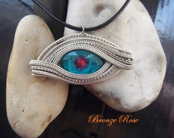 Handmade OOAK wire wrapped helix nebula dragons eye necklace