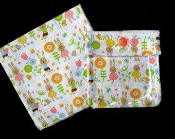 Small transparent Pocket + 1 handkerchief 100% cotton