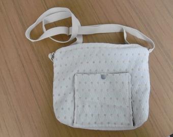 Adjustable taupe and white bag