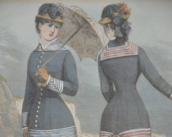"""Antique Mounted Handcoloured Fashion Print """"No. 8 Seaside Costume"""" dated c1880"""