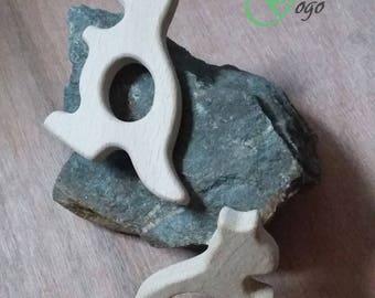 Natural wooden teething ring. Kangaroo form.