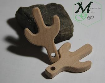 Cactus 2 natural wooden teething ring.