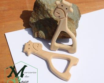 Giraffe 3 natural wooden teething ring.