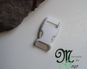 White plastic quick release clip buckle.