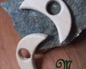 Natural wooden teething ring. Moon shape.