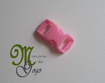 Mini light pink plastic quick release clip buckle.