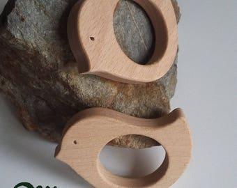 Bird 2 shape natural wooden teething ring.