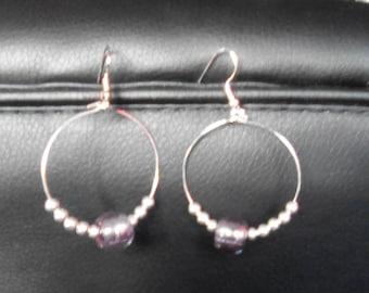 EARRINGS DANGLE hoop EARRINGS beaded Silver earrings in purple and silver glass