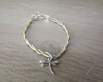 Bracelet leather gold and silver pattern dragonfly