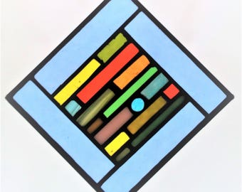 """Blue Multi-Colored 5""""x5"""" Stained Glass Suncatcher"""