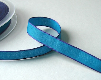 Ribbon, 10 mm turquoise border purple, sold by the yard.