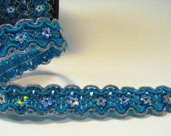 Ribbon, lace flowers, 15 mm, turquoise and silver sequins, sold by the yard.