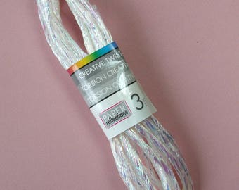 Cord string synthetic twist, white iridescent, 5 mm, 2.70 m skein, floral art, home decor.
