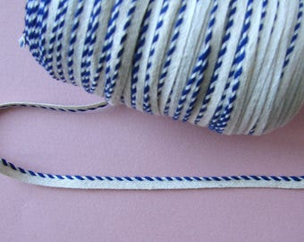 Ribbon piping, 5 mm, Navy Blue and off-white, cotton, sold by the yard, sewing, decoration