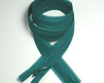 Invisible zipper closure, 61 cm, not separable, green, mesh 5 mm plastic.