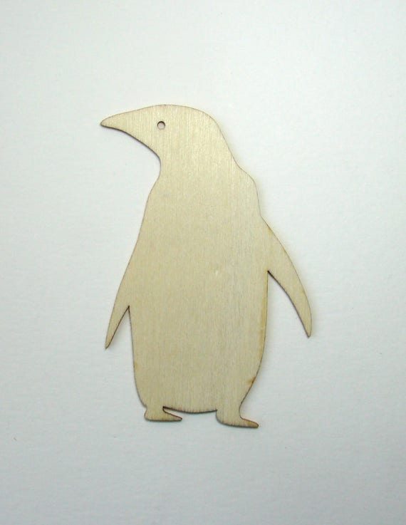 Penguin Cut Out Of Natural Wood 95 Mm X 64 Decoration