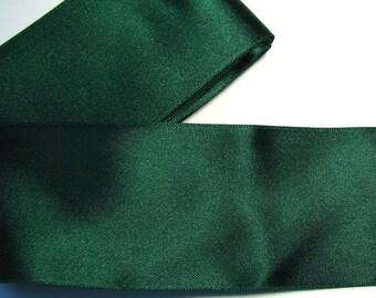 Satin ribbon, 50 mm, dark green, sold by the yard.
