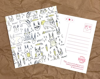 Illustrated Rabbits - Square Postcard