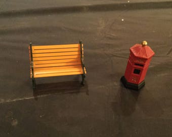 Department 56 English Post Box & Wrought Iron Park Bench