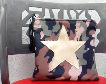 Camouflage and gold star fabric bag