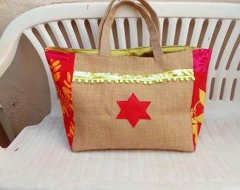 Large burlap beach bag