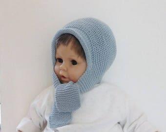 0d2261463974 Cagoule bébé, bonnet écharpe bébé garçon 6 mois 9 mois en laine mérinos  coton bleus, cadeau bébé, vêtement bébé, accessoire bébé fait main