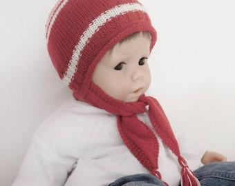 26e8fd46fb8b Cagoule bébé, cagoule bébé 12 mois 18 mois (bonnet et écharpe) en laine  mérinos écologique rouge et écrue, cadeau accessoire bébé fait main