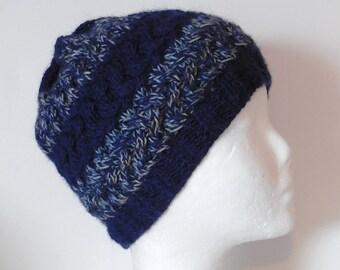 dc5c630a95d1 Bonnet homme, bonnet torsadé masculin en laine d alpaga bleue et laine  écologique bleu chiné beige, cadeau accessoire masculin fait main