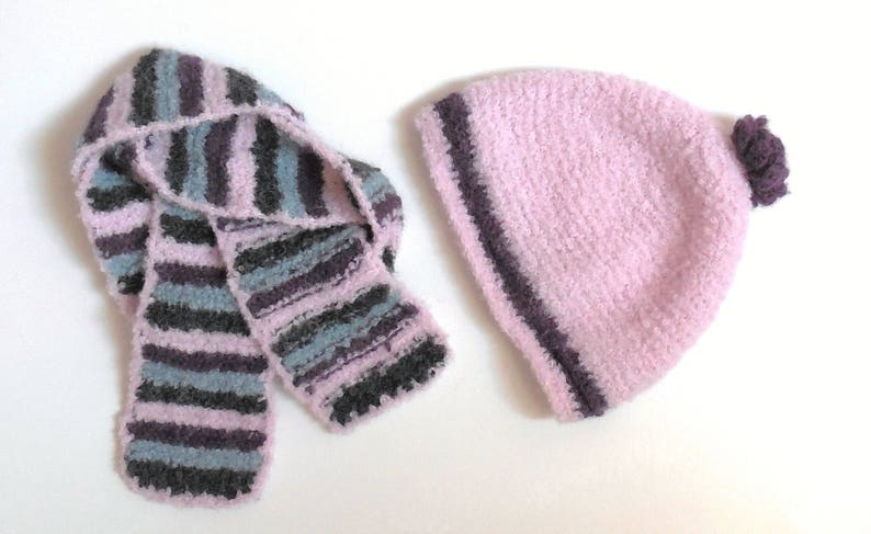 All accessories girl 4 years in ocean green plum pink alpaca wool and black hat and scarf for girl 3 years gift girl hand-made