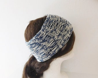 Women's organic cotton Navy Blue and off-white hair band, hand knitted