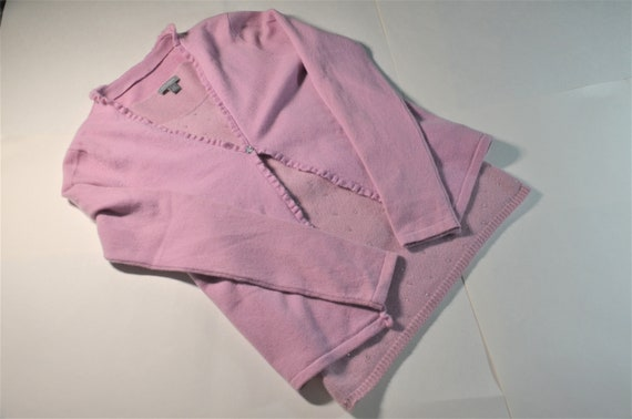 Vintage Cashmere Twinset Ann Taylor Rosy Pink Crys
