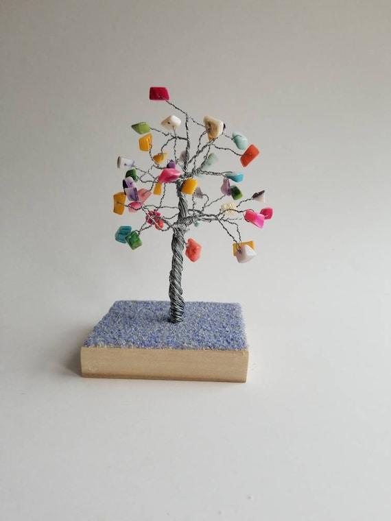 multi-colored wire tree sculpture tree of life centerpiece