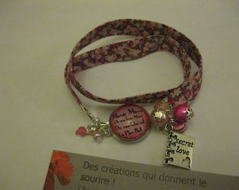 """Bracelet 2 laps retro/vintage liberty floral and 18mm glass cabochon """"mirror oh mirror..."""""""