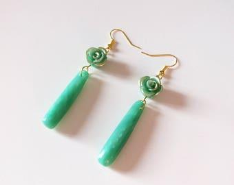 Earrings dangling jade flower drop shape