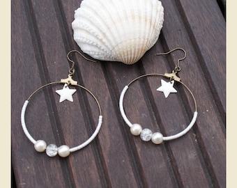 """""""beautiful as the snow"""" hoop earrings"""
