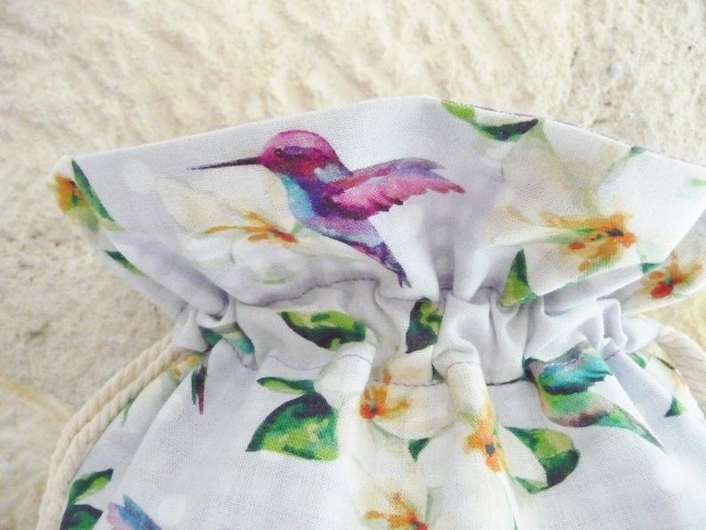 DrawString storage bag hummingbirds exotic doubled cotton purple gingham reversible bikini baby storage House lingerie bag travel vacation