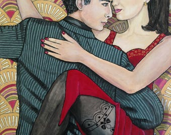 TANGO dancers, art deco, woman, Brigitte sophie couple