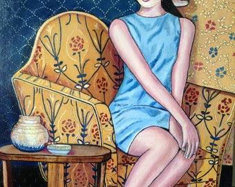 Art deco woman hat, portrait, expectation,